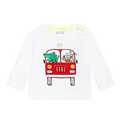 bluezoo - Baby boys' white fire engine applique top