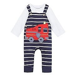 bluezoo - Baby boys' blue and white dungarees and top set