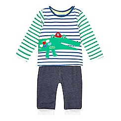 bluezoo - Baby boys' multi-coloured applique top and bottoms set
