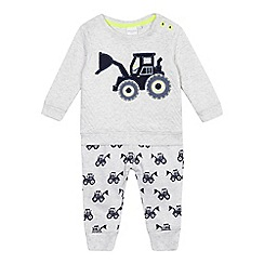 bluezoo - Baby boys' grey tractor applique set