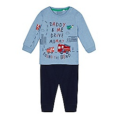 bluezoo - Baby boys' blue 'Daddy and me' top and navy jogging bottoms set