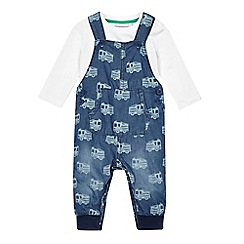 bluezoo - Baby boys' navy bodysuit and dungarees set