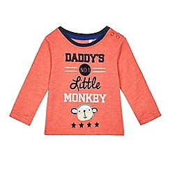 bluezoo - Baby boys' red 'Daddy's No.1 Little Monkey' slogan print top