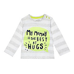 bluezoo - Baby girls' grey striped 'My mummy is the best at hugs' top