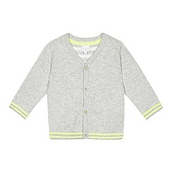 bluezoo - Baby boys' grey striped trim cardigan
