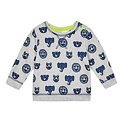 bluezoo - Baby boys' grey animal print sweater