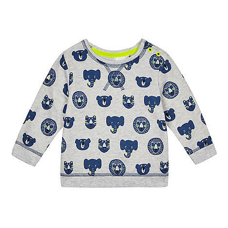 bluezoo - Baby boys+ grey animal print sweater