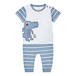 bluezoo - Baby boys' blue and white 'Little Croc' applique t-shirt and jogging bottoms set