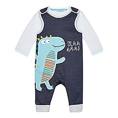 bluezoo - Baby boys' navy dinosaur applique dungarees and bodysuit set