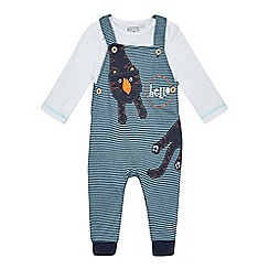 bluezoo - Baby boys' blue striped tiger applique dungarees and body suit set