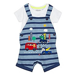 bluezoo - Baby boys' blue animal applique dungarees and t-shirt set