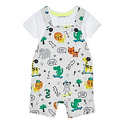 bluezoo - Baby boys' grey animal print dungarees and bodysuit set