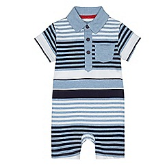 bluezoo - Baby boys' blue striped polo romper suit