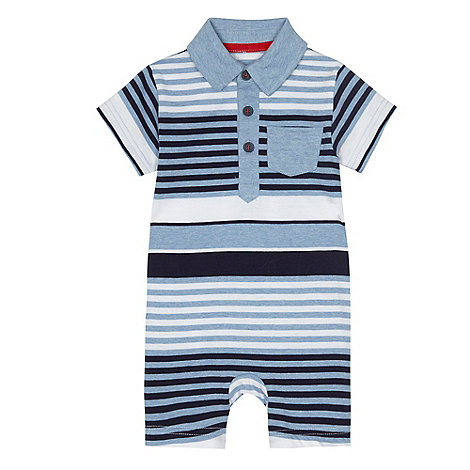 bluezoo - Baby boys+ blue striped polo romper suit