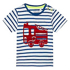 bluezoo - Baby boys' blue and white striped truck applique t-shirt