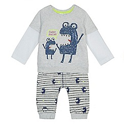 bluezoo - Baby boys' grey 'Daddy and me' monster print top and jogging bottoms set