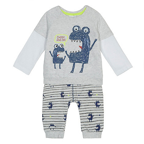 bluezoo - Baby boys+ grey +Daddy and me+ monster print top and jogging bottoms set