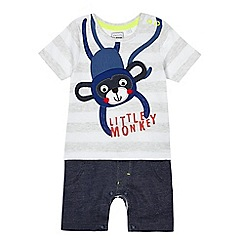bluezoo - Baby boys' grey monkey applique mock romper suit