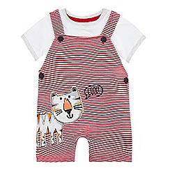bluezoo - Baby boys' red striped tiger applique dungarees and white t-shirt set