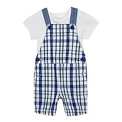 bluezoo - Baby boys' blue checked dungarees and t-shirt set