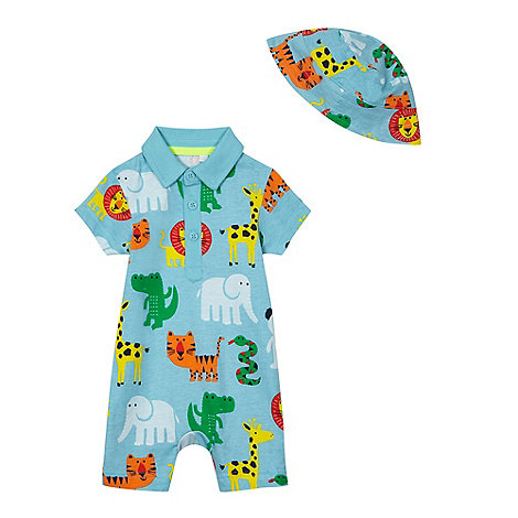 bluezoo - Baby boys+ blue animal print romper suit and sun hat set