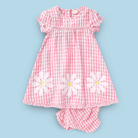 bluezoo - Babies pink gingham applique dress