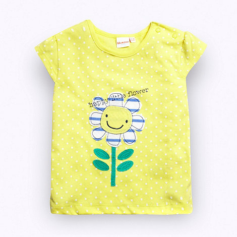bluezoo - Girl+s yellow +Happy Little Flower+ t-shirt
