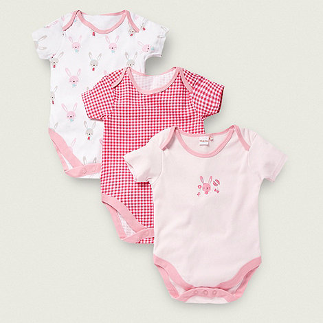 bluezoo - Babies pack of three pink bunny bodysuits