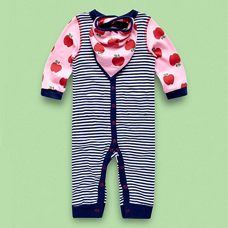 bluezoo - Babies navy striped apple baby grow