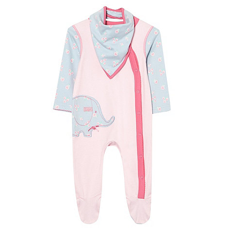 bluezoo - Babies pale pink elephant baby grow with bib