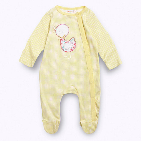 bluezoo - Babies yellow gingham checked duck applique baby grow