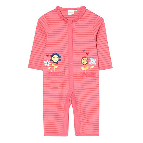 bluezoo - Babies bright pink striped embroidered flower baby grow