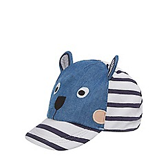 bluezoo - Baby boys' navy striped monkey applique cap