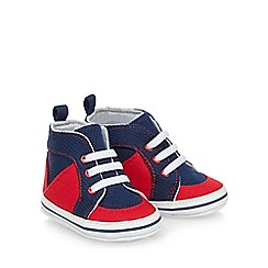 bluezoo - Baby boys' navy and red high top trainer booties