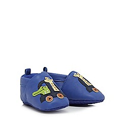 bluezoo - Baby boys' blue leather giraffe applique booties