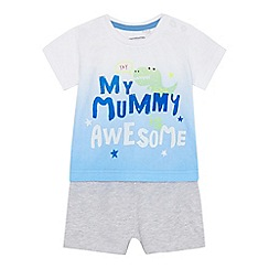 bluezoo - Baby boys' white t-shirt and shorts set