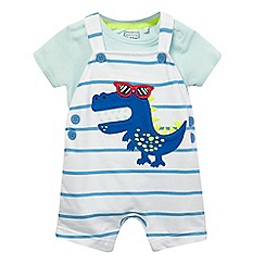 bluezoo - Pack of two baby boys' white dinosaur print dungarees and bodysuit set