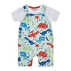 bluezoo - Baby boys' multi-coloured dinosaur print dungaree and bodysuit set