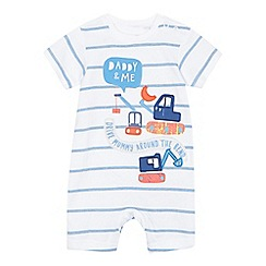 bluezoo - Baby boys' white striped 'Daddy & Me' applique romper suit
