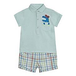 bluezoo - Baby boys' light turquoise dinosaur polo shirt and shorts set