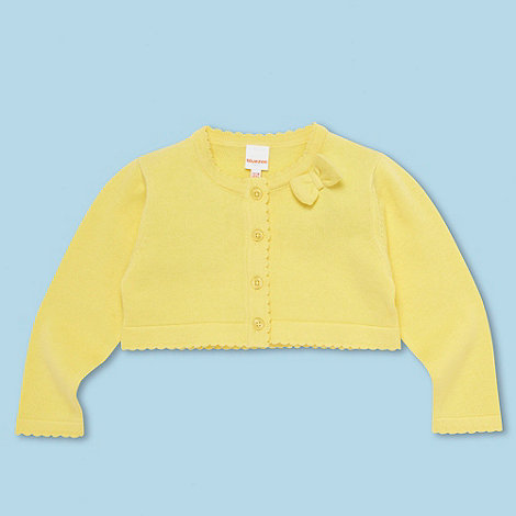 bluezoo - Babies yellow scalloped trim cardigan