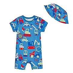 bluezoo - Baby boys' blue transport print romper set
