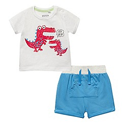 bluezoo - Baby boys' white crocodile print t-shirt and blue shorts set