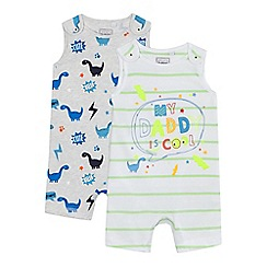 bluezoo - Pack of two baby boy's assorted dinosaur print romper suits