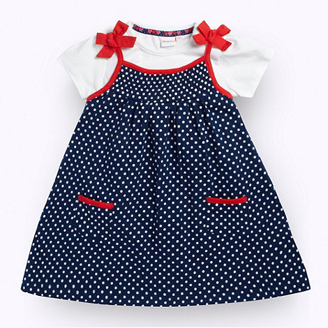 bluezoo - Babies navy spot and bow dress