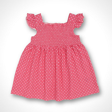 bluezoo - Babies pink shirred polka dotted dress