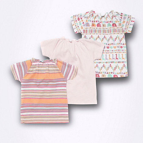 bluezoo - Babies pack of three ruffled neck t-shirts