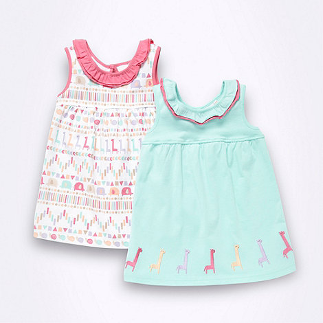 bluezoo - Girl+s pack of two light green giraffe jersey dresses
