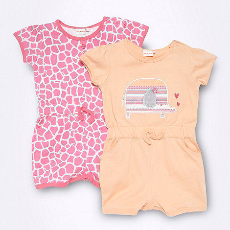 bluezoo - Pack of two Babies pink jersey playsuits