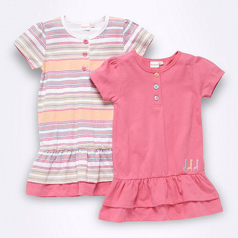 bluezoo - Babies pack of two pink plain and striped jersey dresses